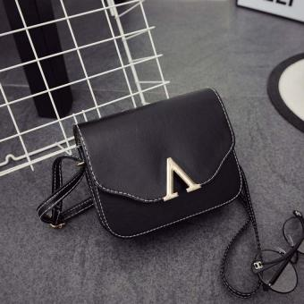 Amart PU Handbag V Word Flap Bag Girls Cross Body Shoulder Bag(Black) - Intl