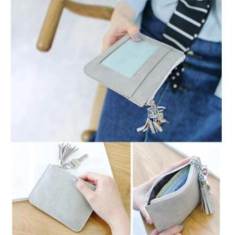 Amart tas koin baru Ultra tipis untuk wanita kunci kulit PU dompet kecil berisleting (biru) - intl - 3