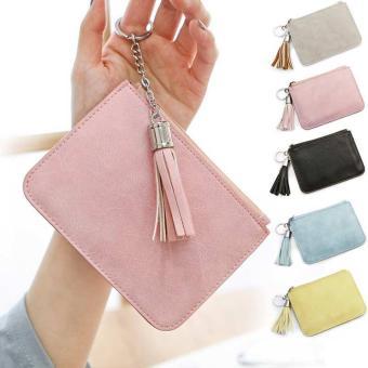 Amart tas koin baru Ultra tipis untuk wanita kunci kulit PU dompet kecil berisleting (biru) - intl - 4