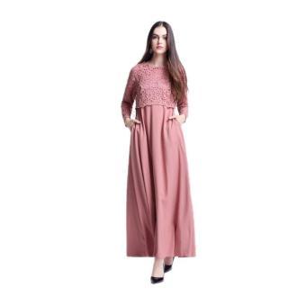 Amart wanita Muslim lengan panjang Maxi gaun renda pakaian jubahMaroko (berwarna merah muda) - International - 2
