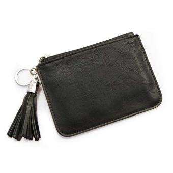 Amart Women Ultra-thin Fresh Coin Bags PU Leather Key Bag Ladies Small Wallet Zipper (Black) - intl