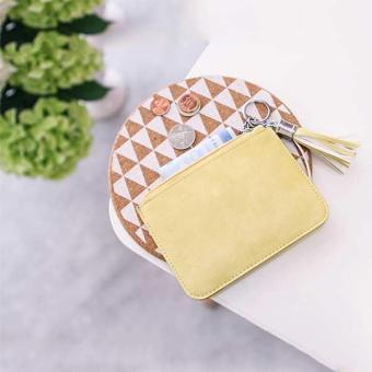 Amart Women Ultra-thin Fresh Coin Bags PU Leather Key Bag Ladies Small Wallet Zipper (Yellow) - intl - 2