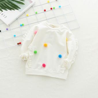 harga Anak-anak kecil bola rambut t-shirt sweater (Putih) Lazada.co.id