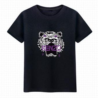 Gambar Animasi Zhou Bian warna singa musim panas pria dan wanita t shirt ( Hitam 2
