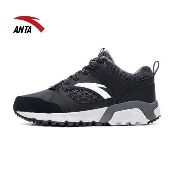 Gambar ANTA ditambah beludru perempuan otentik olahraga musim dingin sepatu hangat berlapis kapas sepatu (Hitam