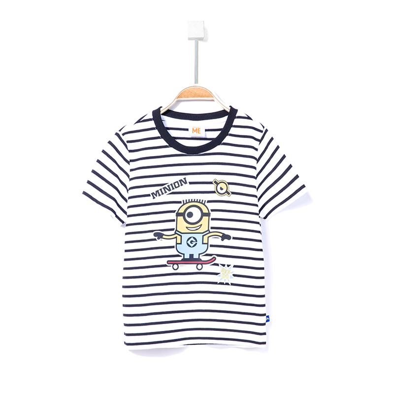 ANTA Katun Baru Anak Kecil Kemeja Rajut Pola T-shirt (Klasik Hitam/Putih