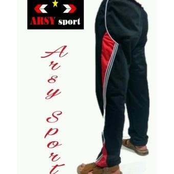 Gambar arsy collections celana training model lis 3 hitam merah