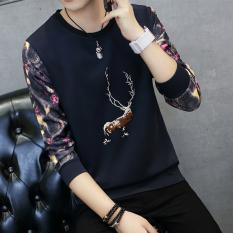 Atasan Pria Lengan Panjang Membentuk Tubuh Trendi Versi Korea (Bordir rusa biru tua)