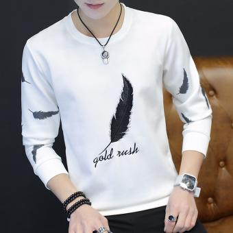 Atasan Pria Lengan Panjang Membentuk Tubuh Trendi Versi Korea Bulu putih. >>>>