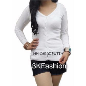 Atasan Wanita - Cardigan - Basic Cardy - Spandek Knite - Putih