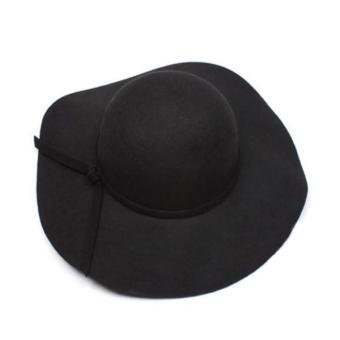 Aukey Baru Wanita Vintage Yang Bertepi Lebar Wol Merasa Topi Fedora Disket  Cloche Topi Bowler . 764a1ec591