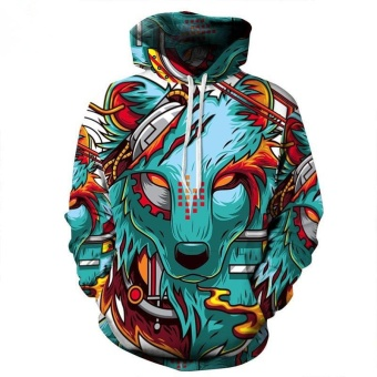 Autumn Winter New Fashion Thin Cap Sweatshirts 3d Print Wolf Men/women Hooded Hoodies Casual Hoody Tops - intl