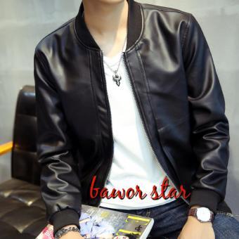 Gambar B_R fashion pria jaket bomber kulit sintetis hitam