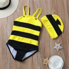 Baby Swimwear+Hat Little Bee Swimsuit Beachwear Toddler Cute Bathing Suit YE/S - intl