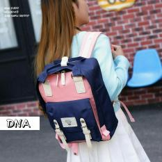 Backpack Korean Style Dough Combination 2 Colors / Tas Ransel Wanita Korean Style - Navy Blue / Pink