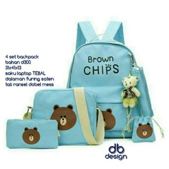 Backpack Set Brown Chips 4 in 1 (Backpack / Tas Ransel, Sling Bag /