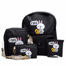 Backpack/Tas Punggung/Tas Ransel/Ransel Sekolah/Travel Bag 4 in 1 – Wanita ( 3P isee Backpack ) - Black