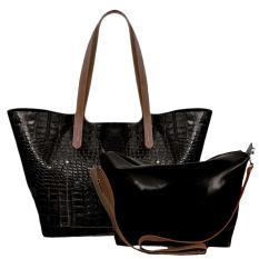 Bag & Stuff Luxury Croco Geneva Tote Bag in Bag - Hitam