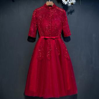 Review of Bagian panjang merah menikah keterlibatan gaun malam toast pakaian (Anggur merah ritsleting dan