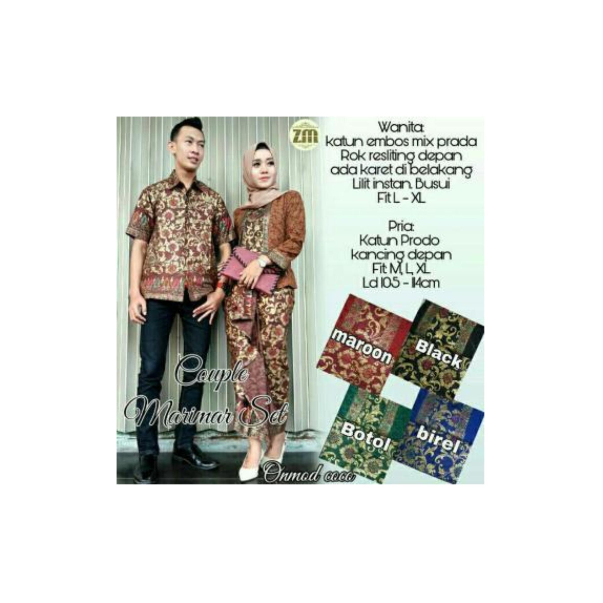 Harga Termurah Baju Batik Couple Sarimbit Gamis Model Thalia Coklat