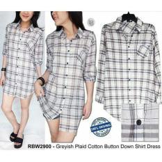 Baju Branded Murah Rainbow Greyish Plaid Cotton Button Down Shirt Dres - M5pwpm