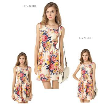 Baju Dress Gaun Wanita Banyak Motif Import Murah - Pink Floral - 2