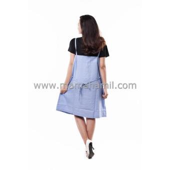 Baju Hamil Dress Overall Katun - Biru Muda - 4 .
