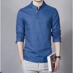 Baju Kemeja Koko Shaquille Polos Biru Premium