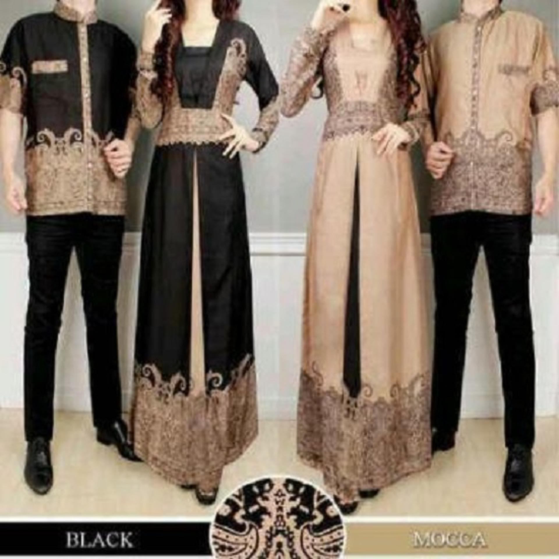 Diskon Baju Online Pakaian Couple Muslim Batik Modern Sarimbit Keluarga Kemeja Koko Pria Lengan Pendek