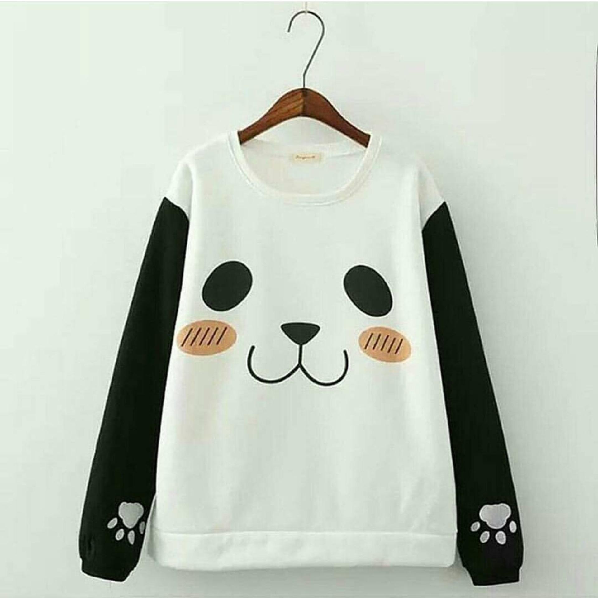 Baju Original Panda Roundhand Sweater Babytery Jaket Muslimah Hangat Fleece Misty Combie Babyterry Zipper Hoodie Casual Jacket Atasan Wanita