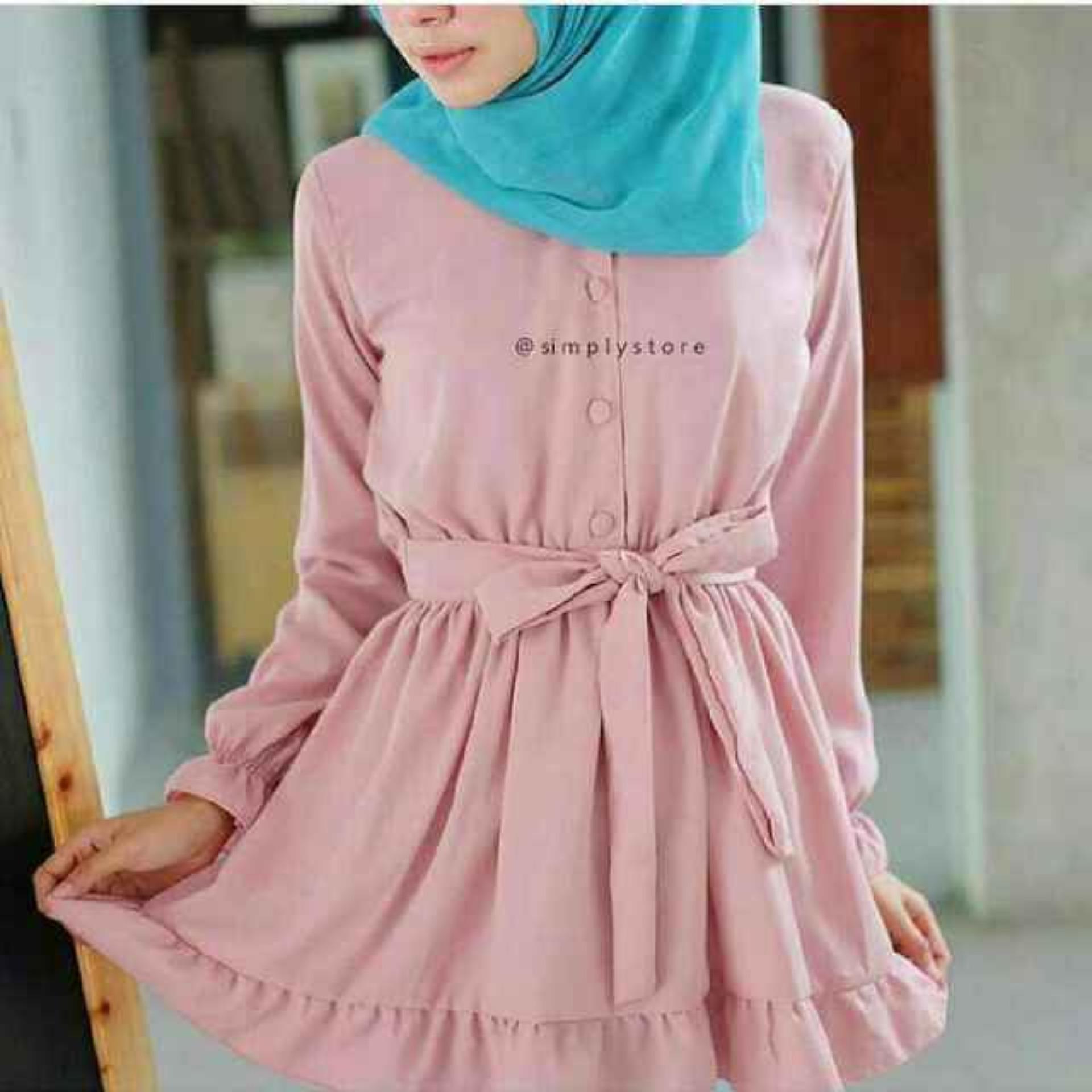 Izzura Tunik Salmon Long Keren Gaul Daftar Candy Dress Dusty Pink Sj0015 Baju Original Dewita Atasan Wanita Muslim Panjangpakaian Kerja Santai Casual