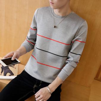 Gambar Baju Pria Lengan Panjang Leher O Membentuk Tubuh Trendi (Tiga bar  abu abu) b801031e2f