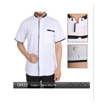 Baju Pria Modern Kemeja Koko Lengan Pendek Slim Fit OM33