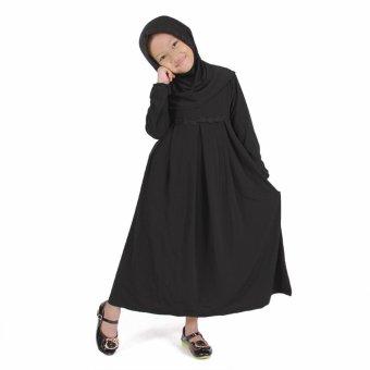 Baju Yuli Gamis Anak Perempuan Motif Bunga Simple - Hitam