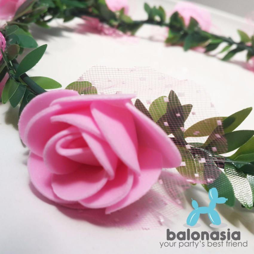 Putih Source mix Source Balonasia Flower Crown Aksesoris Pesta Mahkota Bunga Pink .