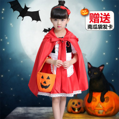 Baobao Halloween untuk anak perempuan Rotkappchen kinerja kostum gaun putri (Merah)