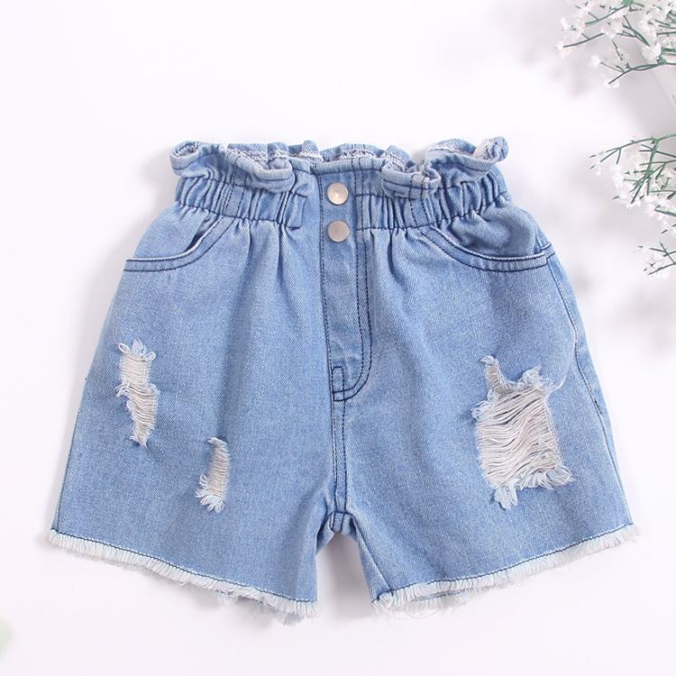 Baobao Korea Fashion Style kapas musim panas gadis celana anak perempuan Celana Pendek Denim (Warna