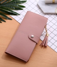 Baru Dompet Panjang Wanita Buckle Rumbai Kartu Buckle Wallet-Light Powder