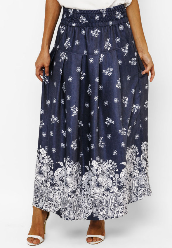 Batik on Denim - Marzie Maxi Skirt .
