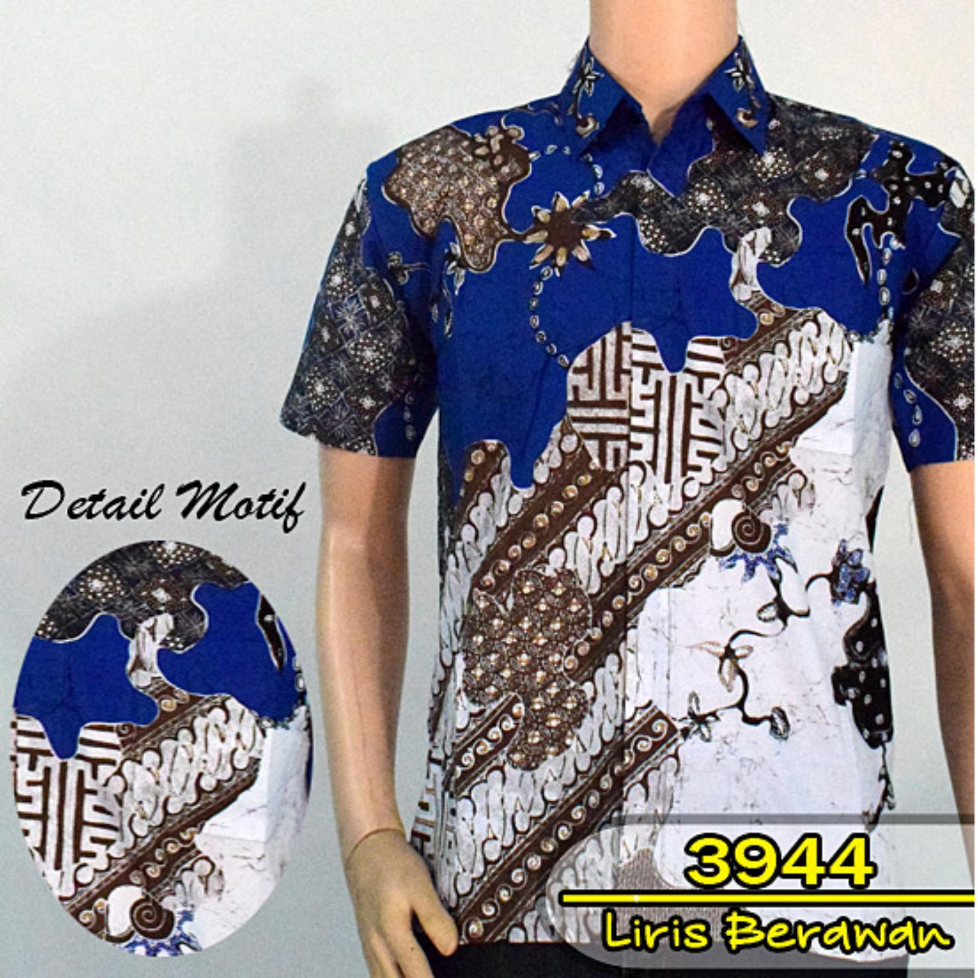 Batik Solo 3944 Baju Kemeja Batik Pria Motif Liris Berawan Warna Biru Tua