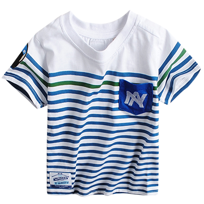 Bayi anak laki-laki bergaris musim panas anak-anak lengan pendek t-shirt