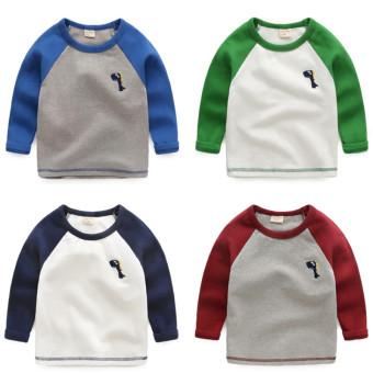 Bayi Baru Anak Laki-laki Kemeja Leher Bulat T-shirt (Biru tua)