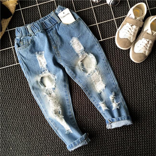 Shopping Comparison Bayi denim untuk anak perempuan dan anak laki-laki pasang dicuci celana jeans (Simetris lubang denim celana) (Simetris lubang denim ...