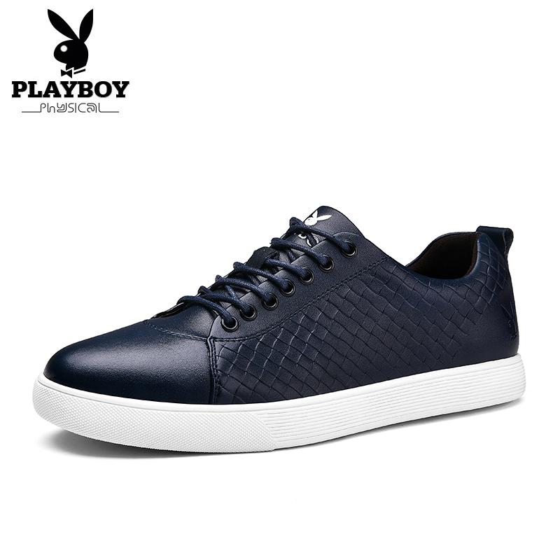 BayMini PLAYBOY musim gugur baru sepatu pria sepatu olahraga (Biru tua)