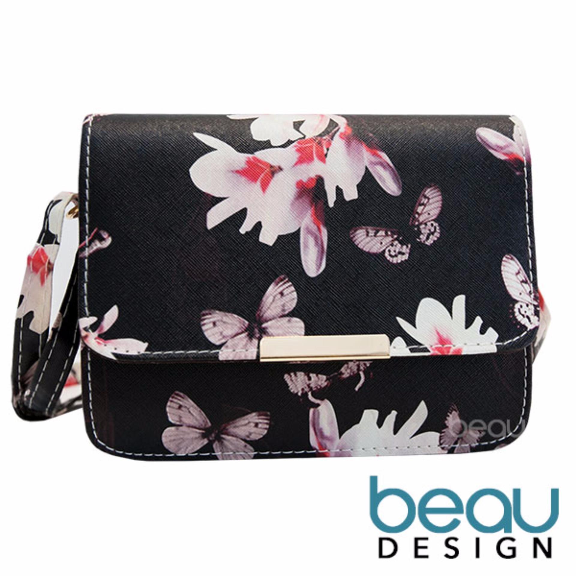 Suitable for casual outlook Beau Design Tas Wanita Bunga Kupu Kupu PU Leather Women Flower