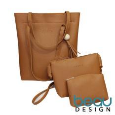 BEAU Set of 3 Tas Wanita PU Leather Tote Women Shoulder Bags