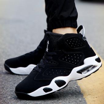 Harga Beberapa Korea Fashion Style Bantal Udara Pergelangan Kaki Tinggi Sol  Tebal Kasual Sepatu Pria Sepatu (862 hitam) Murah 8e9706931e