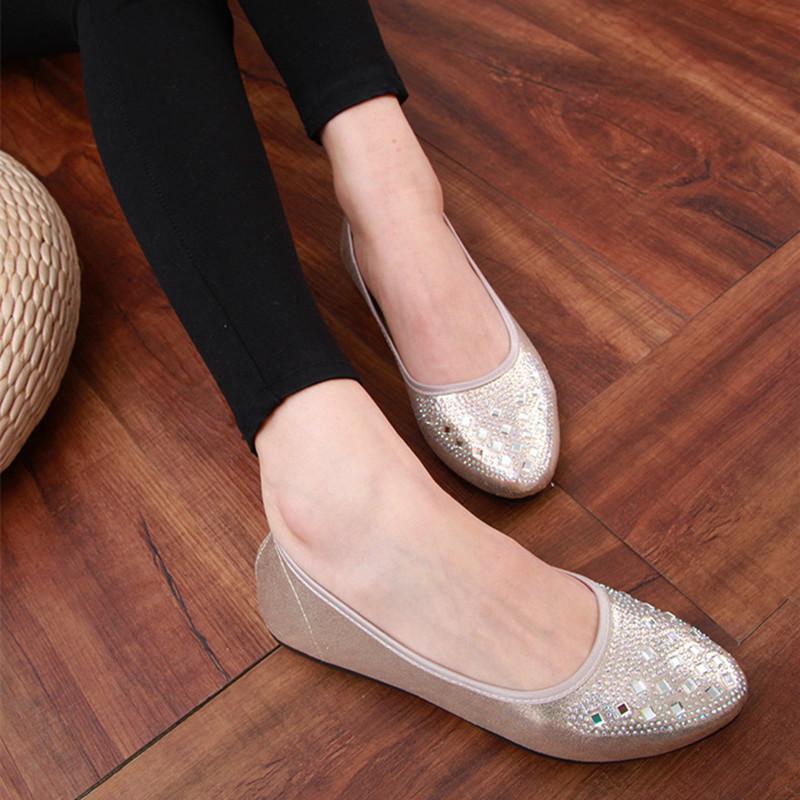 Beijing tua blok bor mulut dangkal sepatu sepatu (Emas Cahaya)