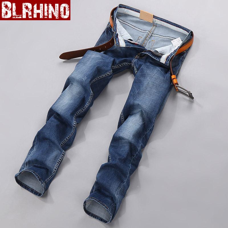 Beilexiniu Korea Fashion Style pria peregangan remaja celana panjang Slim Lurus celana jeans (Biru)