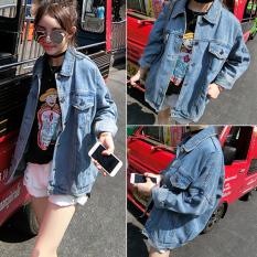 Beishihan Kardigan Wanita Panjang Sedang Lengan Panjang Bahan Jeans Model BF Gaya Korea (Biru [